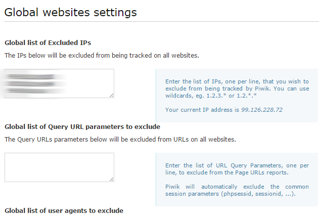 Global website settings IP