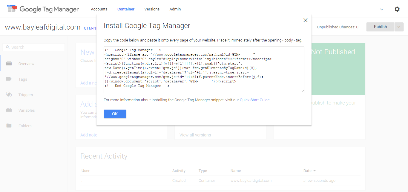 Google Tag Manager setup step 4
