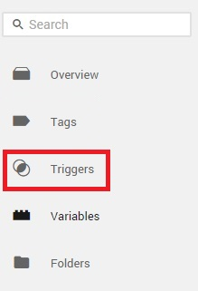 Left Navigation in Google Tag Manager Triggers