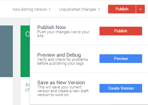 Publishing on Google Tag Manager