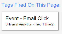 Tags Fired on Page Email Click