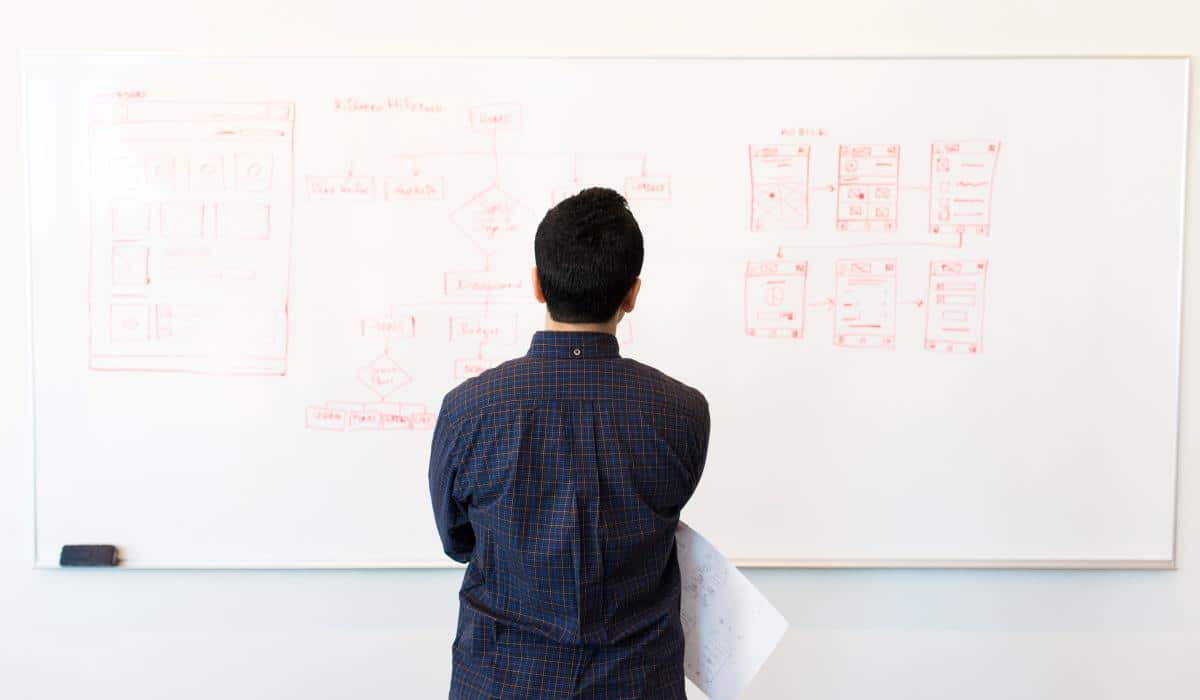 Man looking at white board