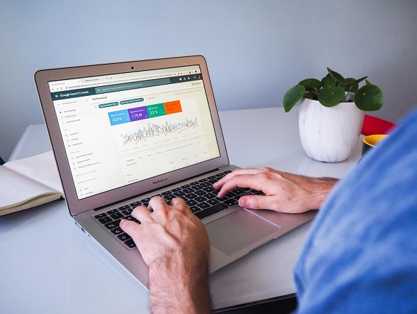 man working with google search console